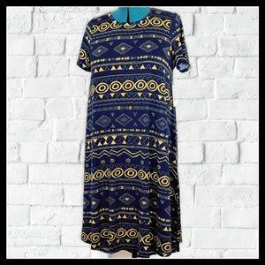 NWT LuLaRoe Black / Gold Pyramids Hi Low Dress L